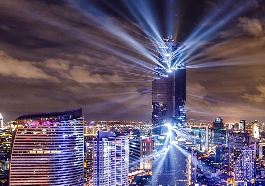Thailand's tallest building MahaNakhon shines in Bangkok sky with dramatic light show